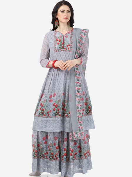 Gray Faux Georgette Printed Party Sharara Pant Kameez