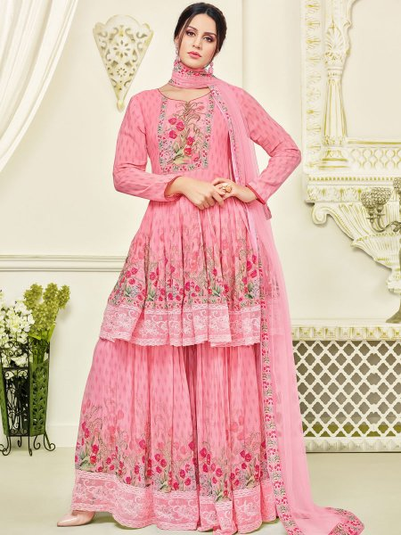 Salmon Pink Faux Georgette Printed Party Sharara Pant Kameez