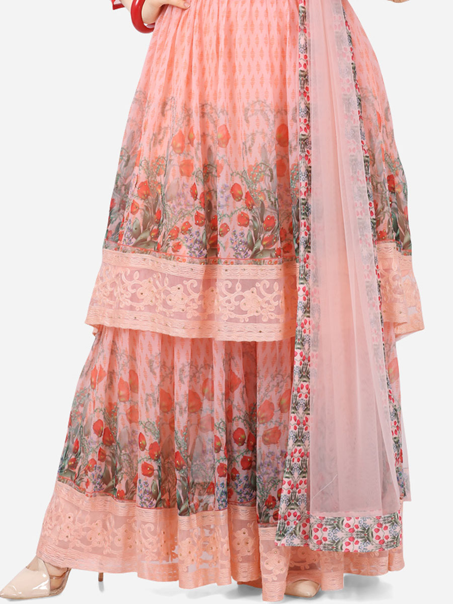 Coral Pink Faux Georgette Printed Party Sharara Pant Kameez