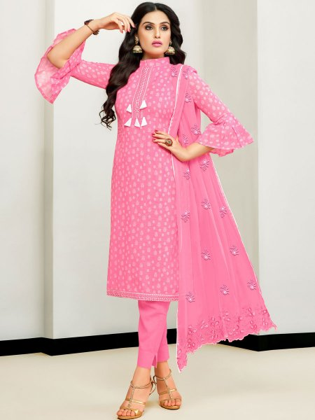 Salmon Pink Satin Cotton Embroidered Party Pant Kameez