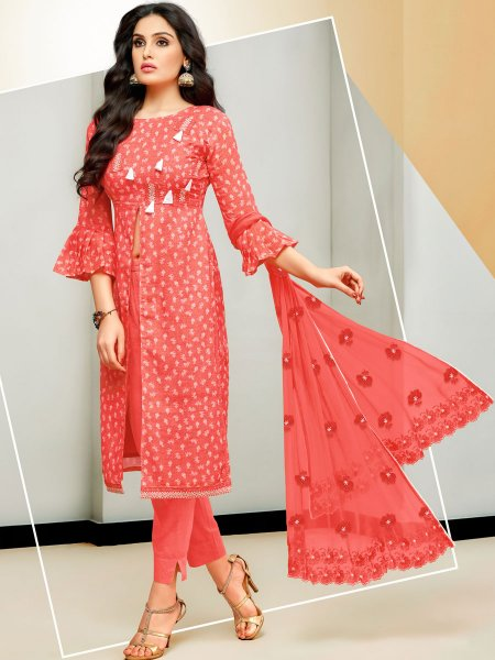 Vermilion Red Satin Cotton Embroidered Party Pant Kameez