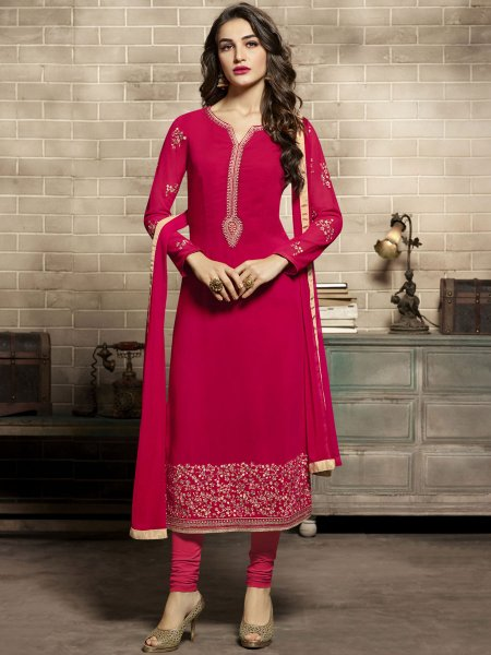Dark Pink Faux Georgette Embroidered Festival Churidar Pant Kameez