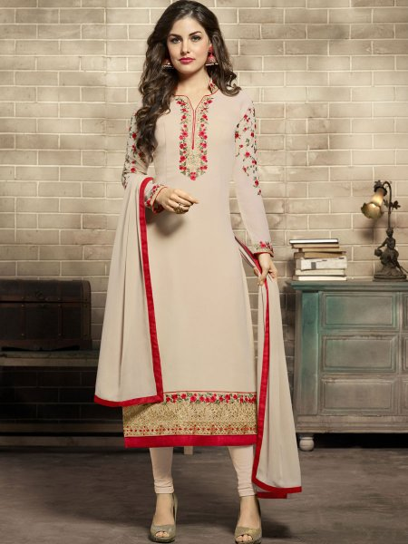 Cream Yellow Faux Georgette Embroidered Festival Churidar Pant Kameez