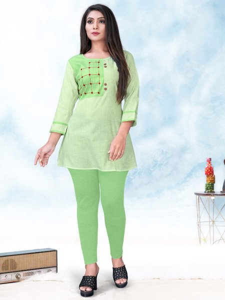 Moss Green Cotton Embroidered Party Short Kurti