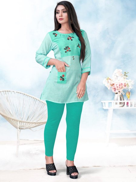 Sea Green Cotton Embroidered Party Short Kurti
