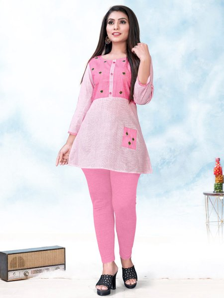 Baby Pink Cotton Embroidered Party Short Kurti