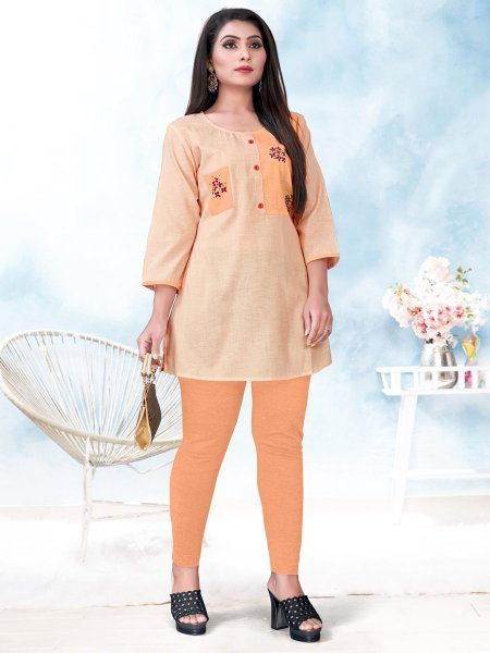 Apricot Orange Cotton Embroidered Party Short Kurti