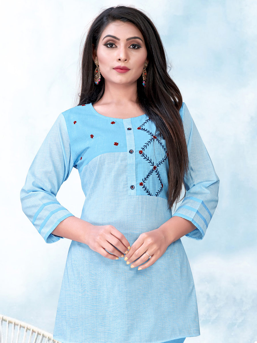 Sky Blue Cotton Embroidered Party Short Kurti