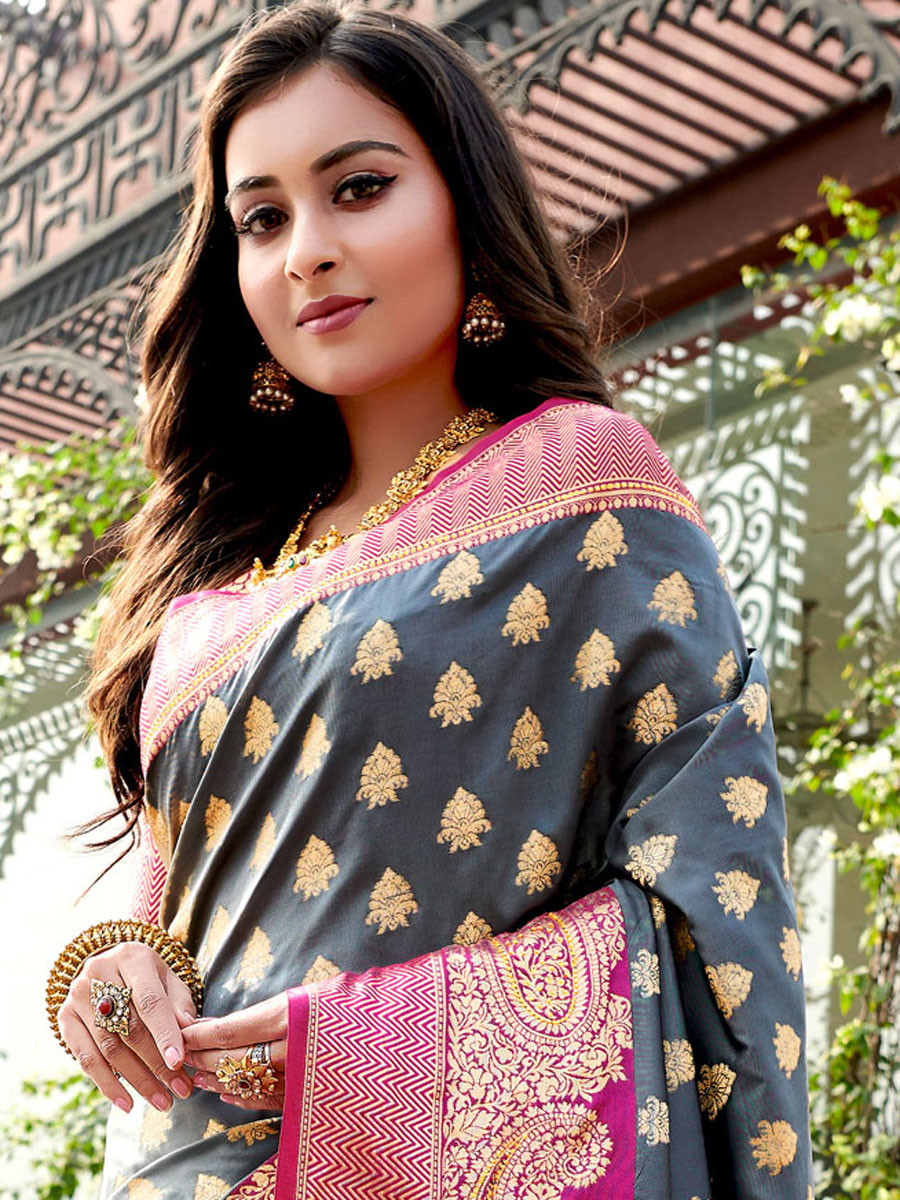Dark Gray Silk Handwoven Festival Saree