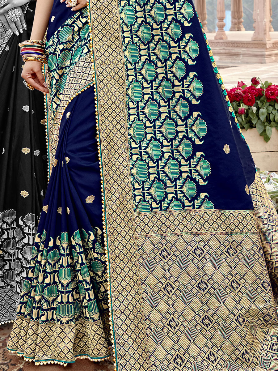 Navy Blue Banarasi Silk Embroidered Festival Saree