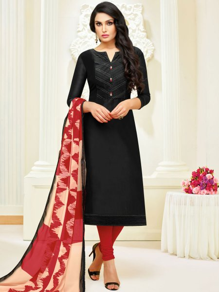 Black Silk Embroidered Party Churidar Pant Kameez