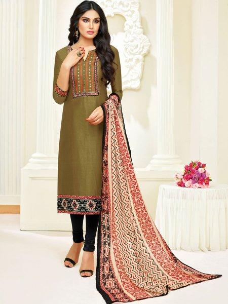 Light Army Green Silk Embroidered Party Churidar Pant Kameez