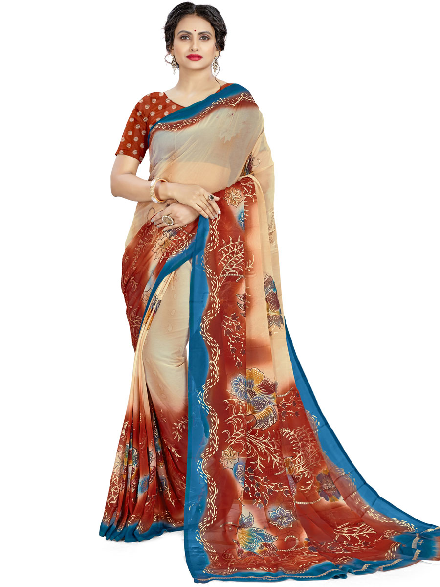 Cream Yellow and Burnt Orange Faux Georgette Printed Casual Saree