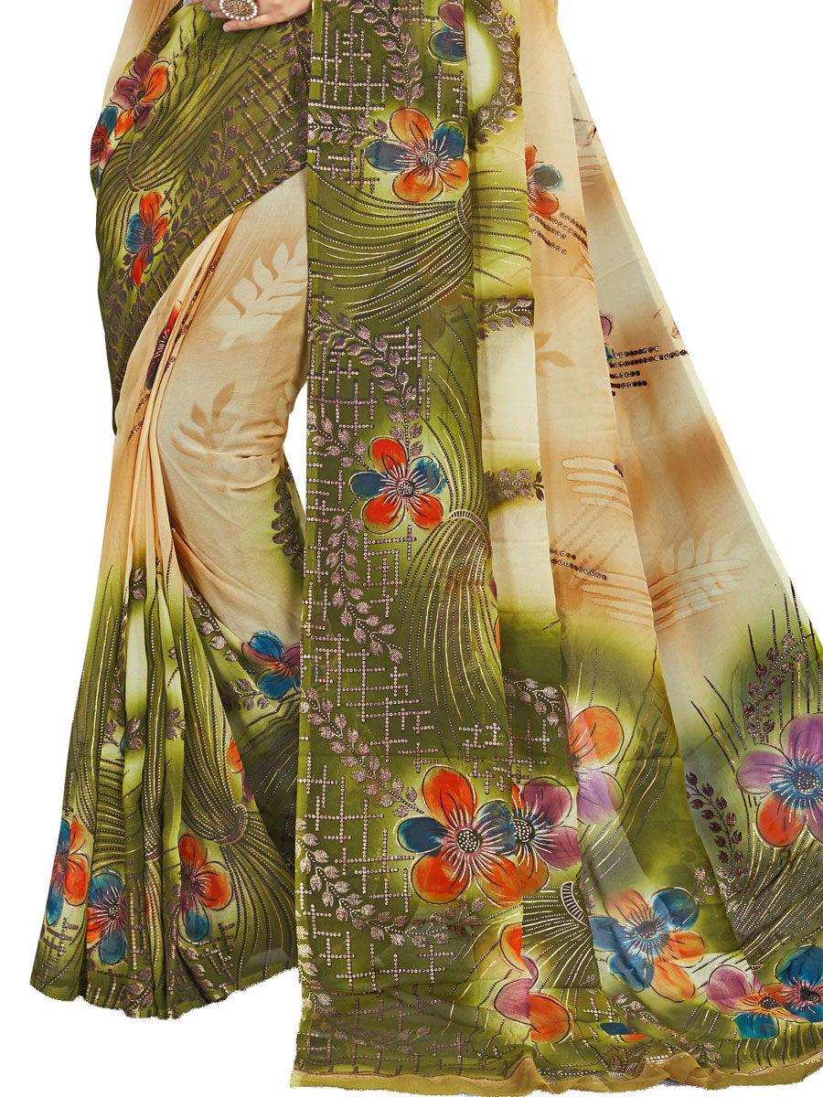 Cream Yellow and Fern Green Faux Georgette Printed Casual Saree