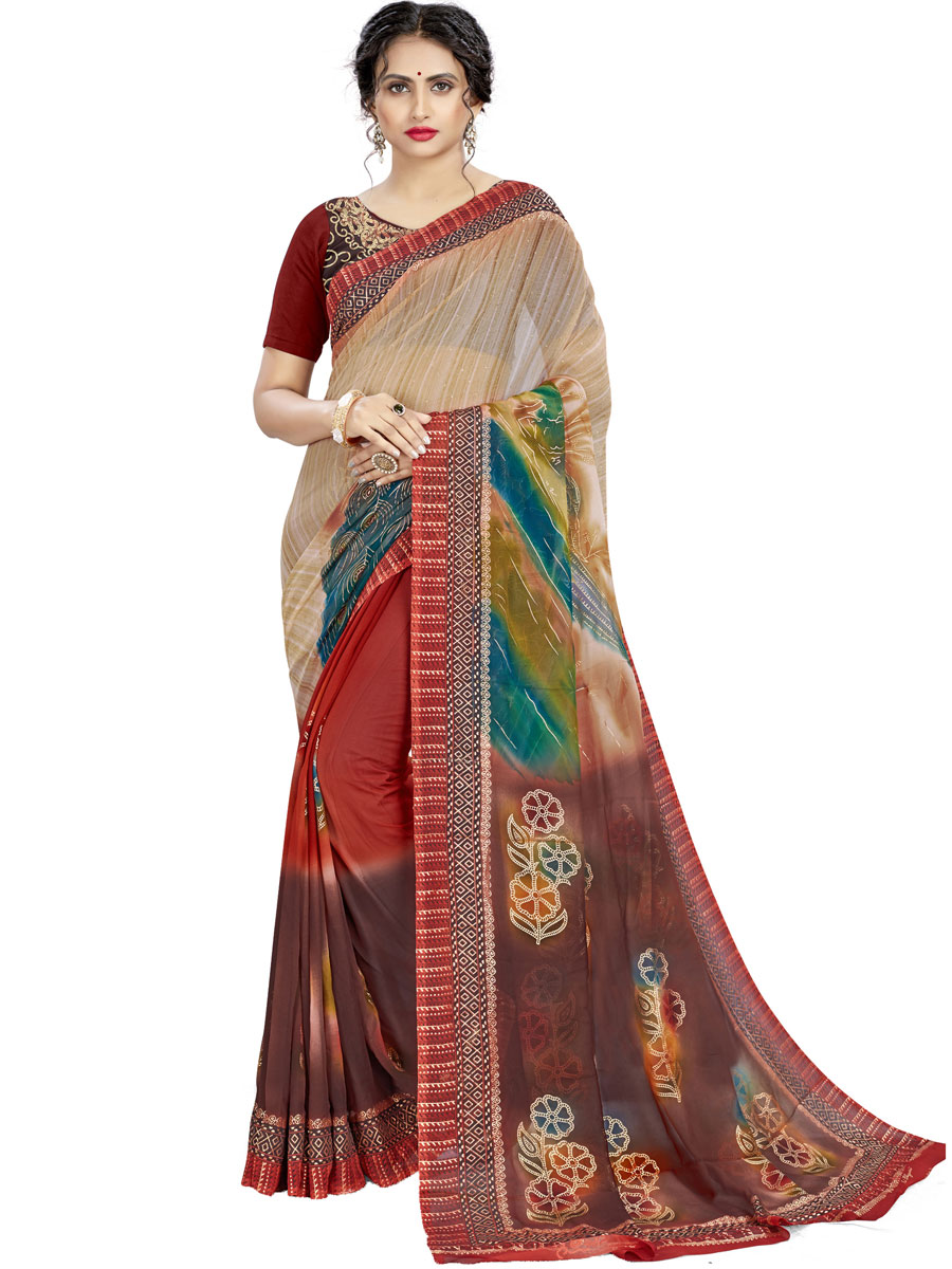 Cream Yellow and Bole Brown Faux Georgette Printed Casual Saree