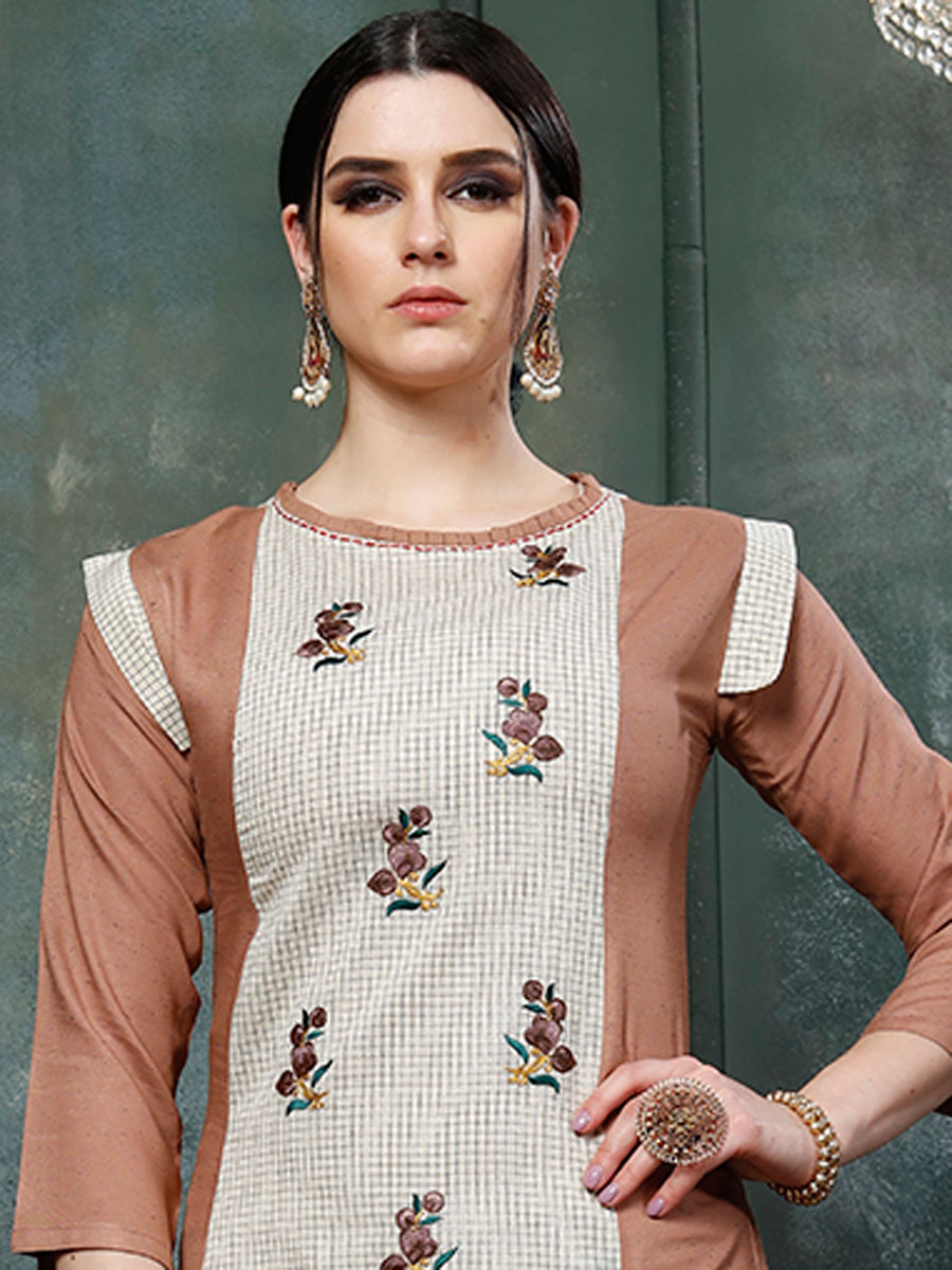 Cream Yellow and Fallow Brown Rayon Embroidered Party Kurti