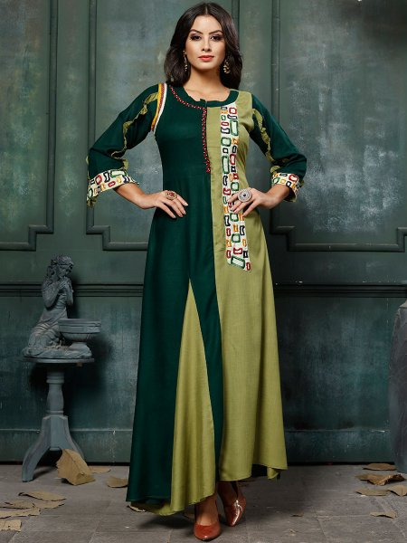 Hunter Green and Parrot Green Rayon Embroidered Party Kurti