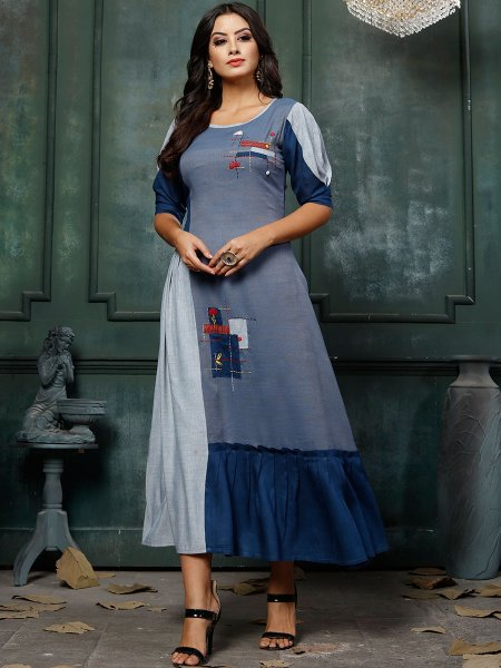 Cornflower Blue and Navy Blue Rayon Embroidered Party Kurti
