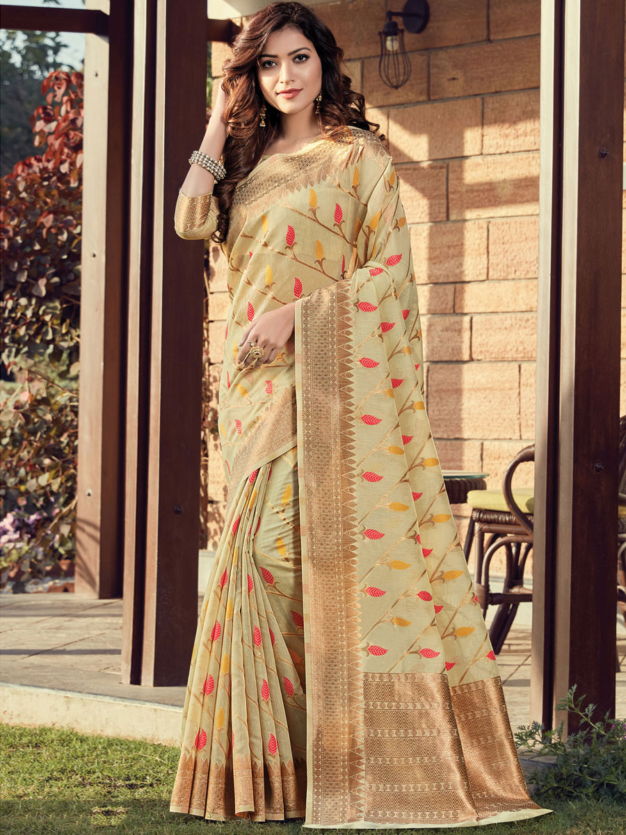 Cream Yellow Cotton Printed Festival Saree