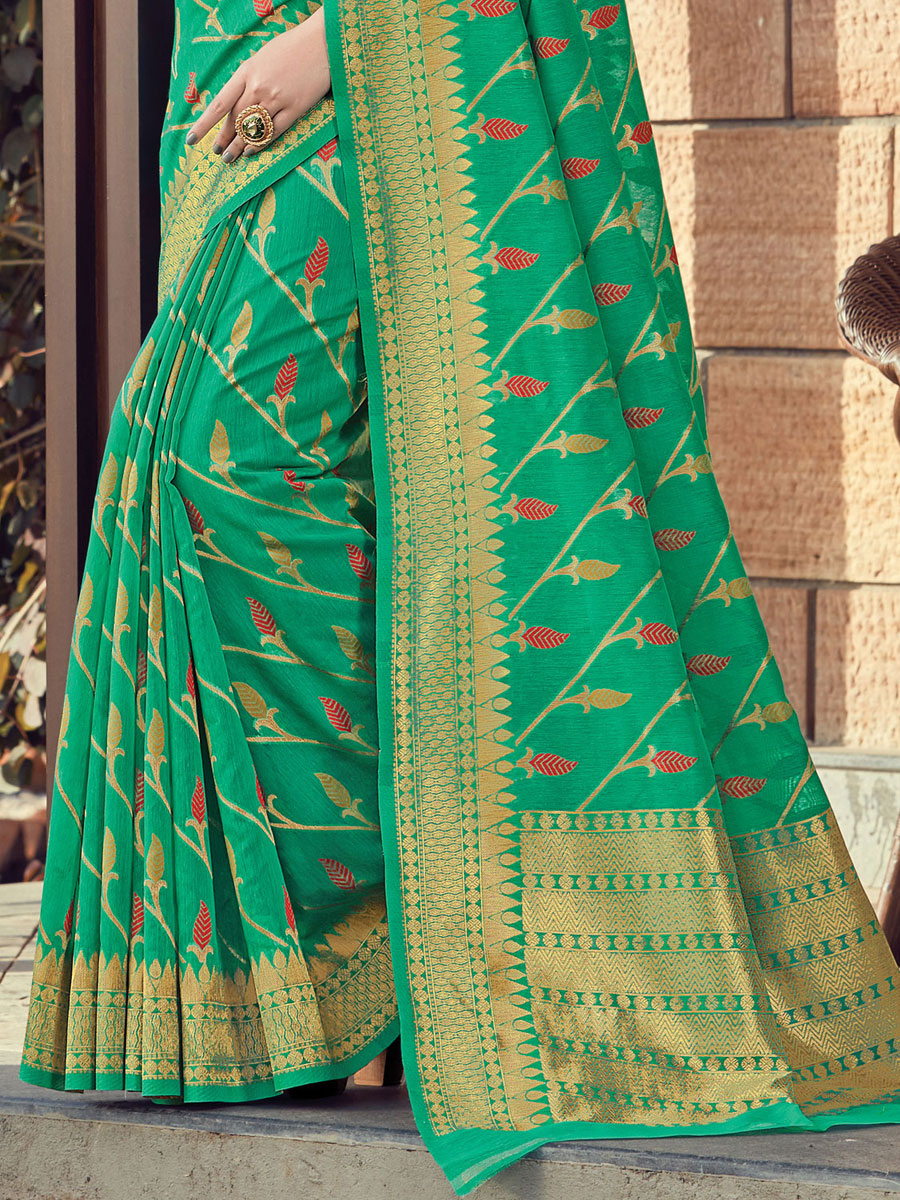 Jade Green Cotton Printed Festival Saree