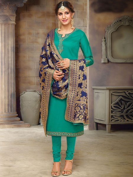 Persian Green Cotton Embroidered Festival Churidar Pant Kameez