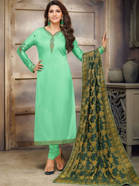 Light Green Cotton Embroidered Festival Churidar Pant Kameez