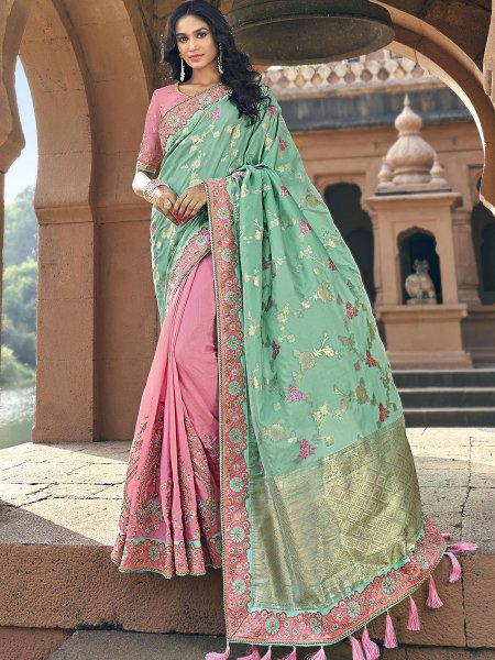 Celadon Green and Salmon Pink Silk Embroidered Festival Saree