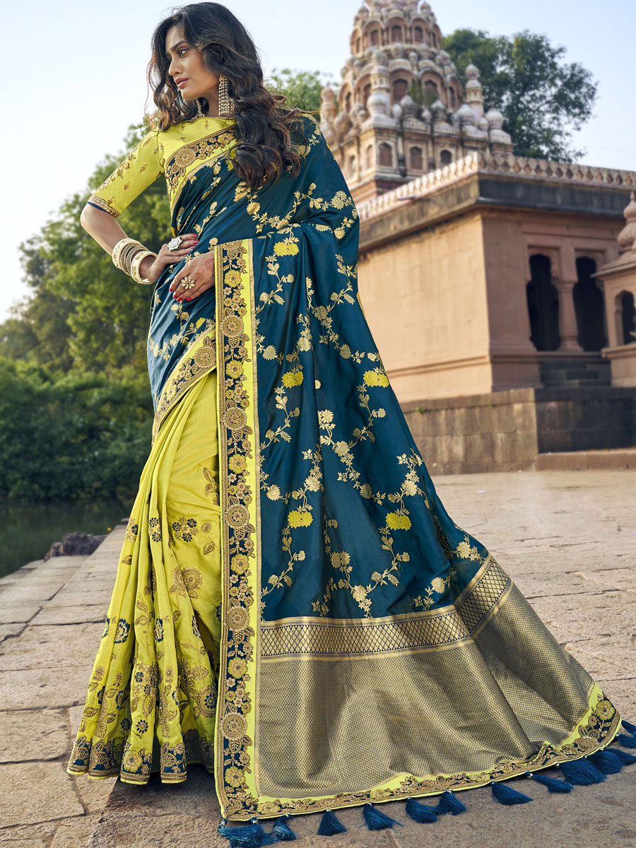 Parrot Green and Yale Blue Banarasi Silk Embroidered Festival Saree