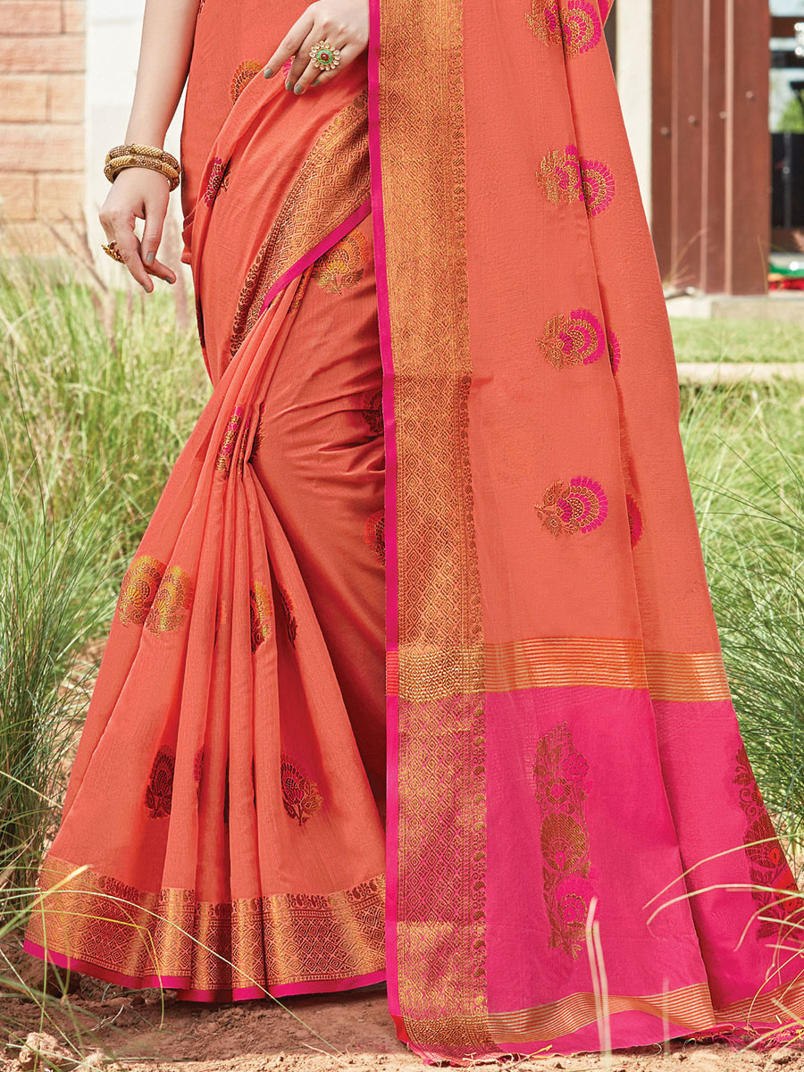 Deep Carmine Pink Cotton Handwoven Festival Saree