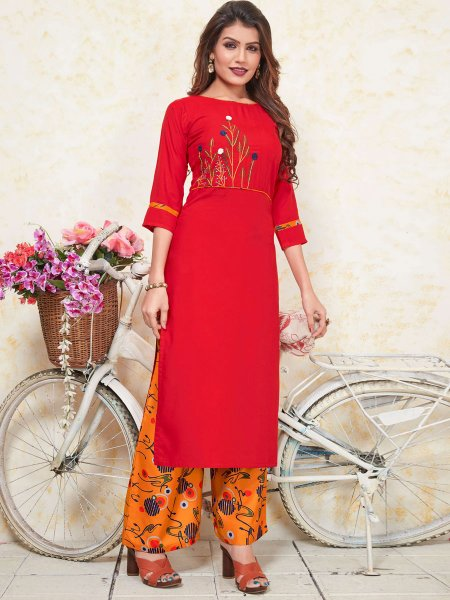 Rose Madder Red Rayon Embroidered Party Kurti