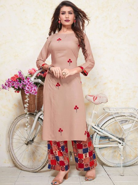 Cream Yellow Rayon Embroidered Party Kurti