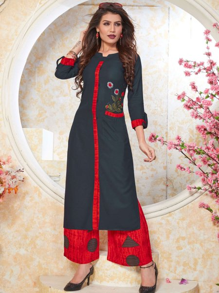 Dark Gray Rayon Embroidered Party Kurti
