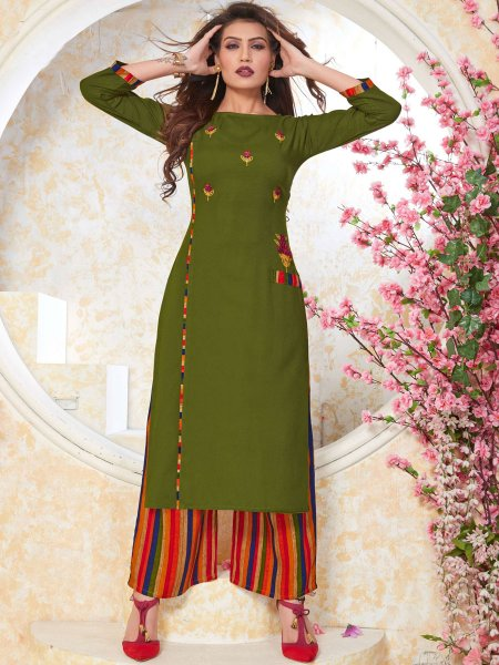 Fern Green Rayon Embroidered Party Kurti