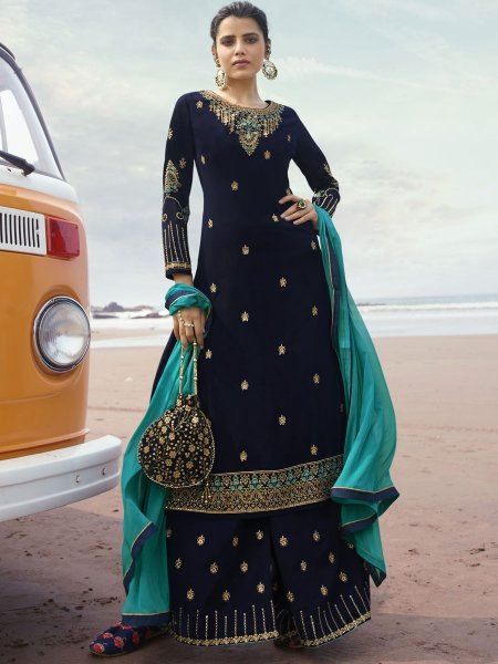 Navy Blue Faux Georgette Embroidered Festival Palazzo Pant Kameez