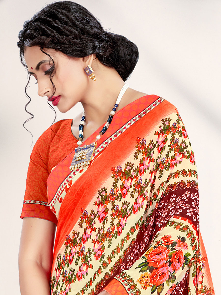 Cream Yellow and Coral Red Faux Georgette Printed Casual Saree