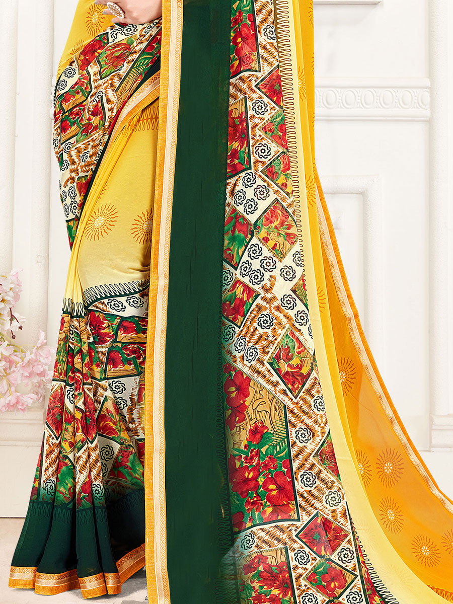 Mustard Yellow and Hunter Green Faux Georgette Printed Casual Saree