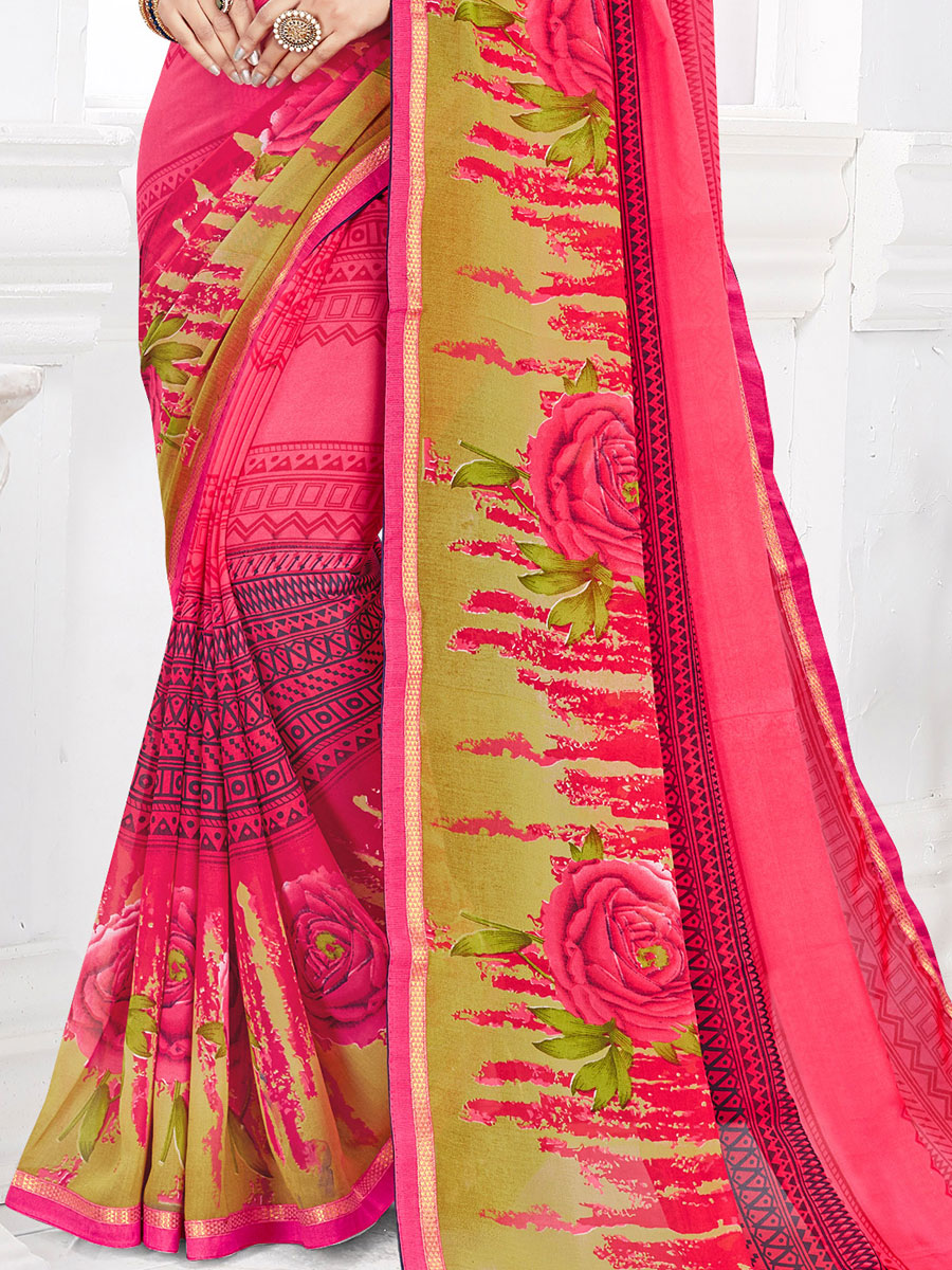Brink Pink Faux Georgette Printed Casual Saree