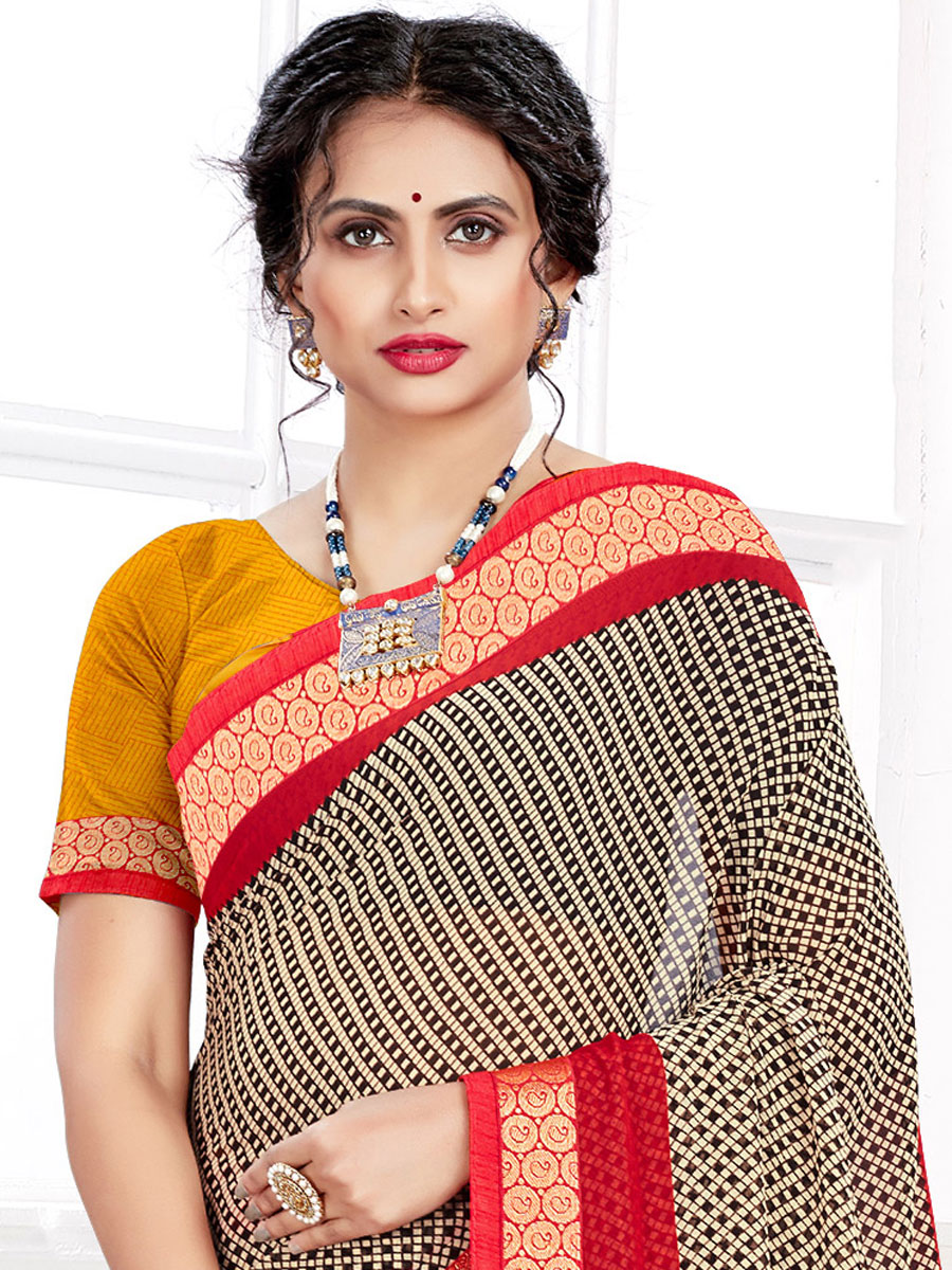 Cream Yellow and Black Faux Georgette Printed Casual Saree