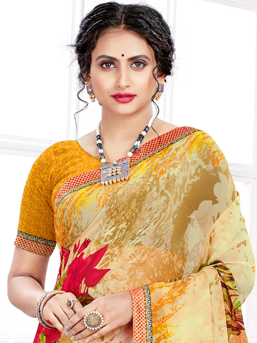 Cream Yellow and Mustard Yellow Faux Georgette Printed Casual Saree