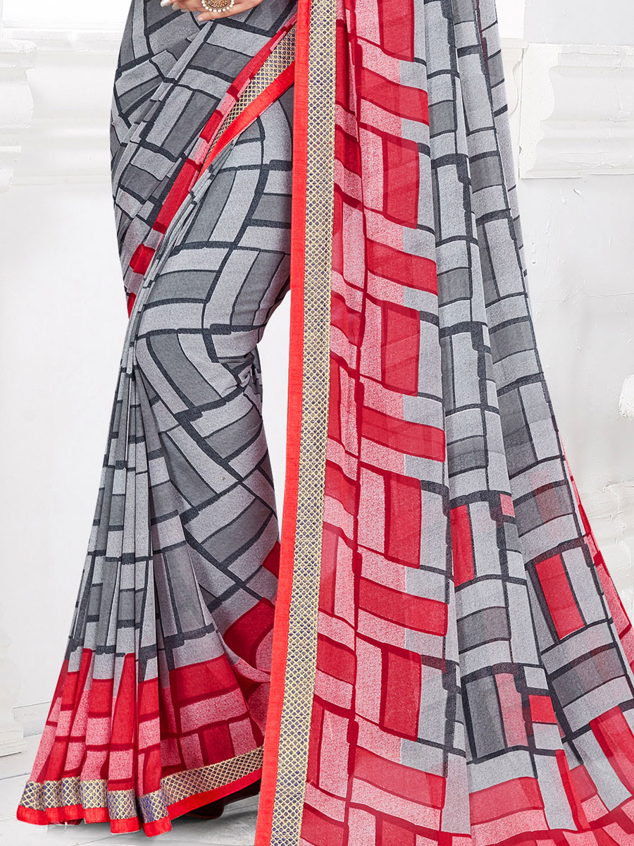 Gray Faux Georgette Printed Casual Saree