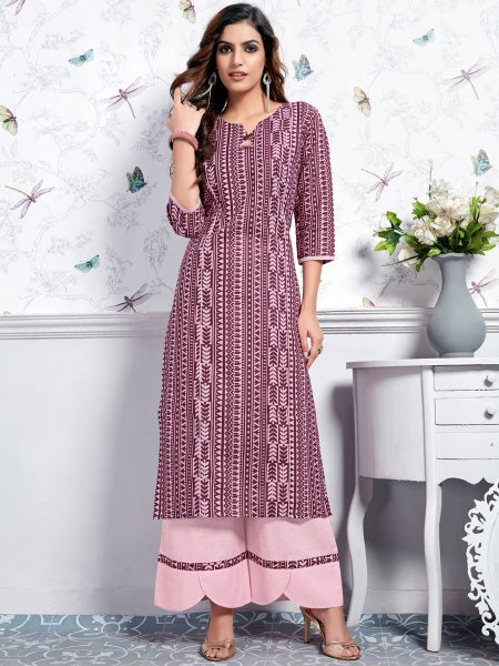 Light Pink Cotton Printed Casual Kurti