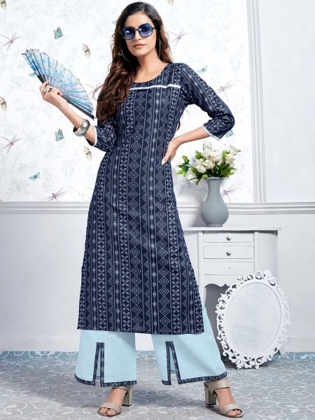 Navy Blue Cotton Printed Casual Kurti