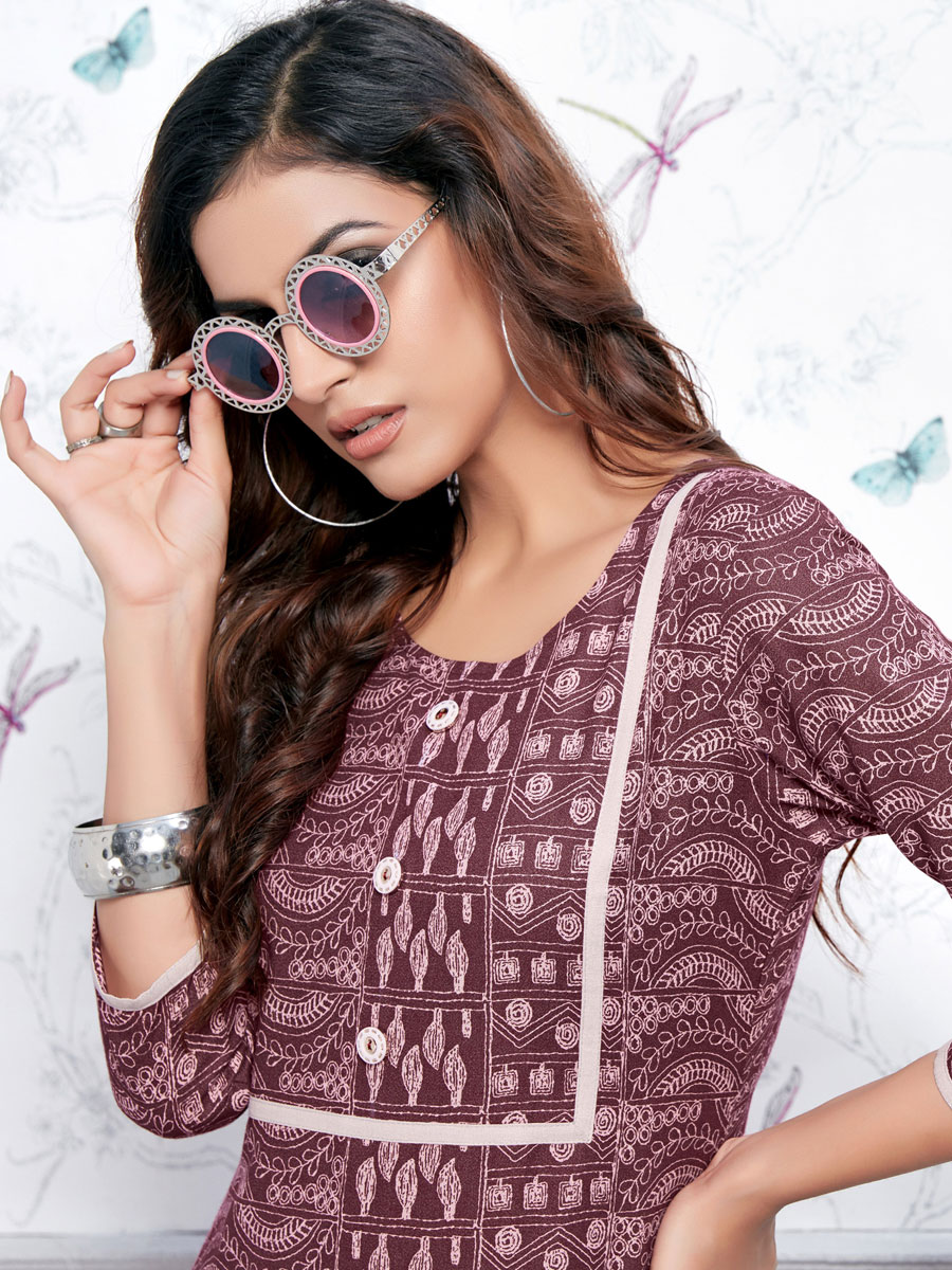 Maroon Cotton Printed Casual Kurti