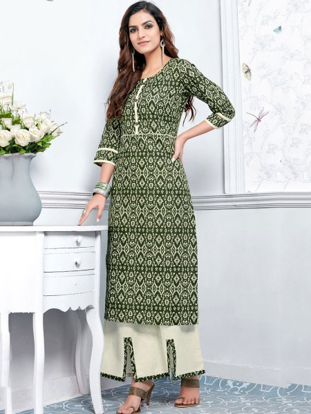 Hunter Green Cotton Printed Casual Kurti
