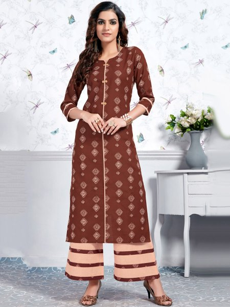 Bole Brown Cotton Printed Casual Kurti