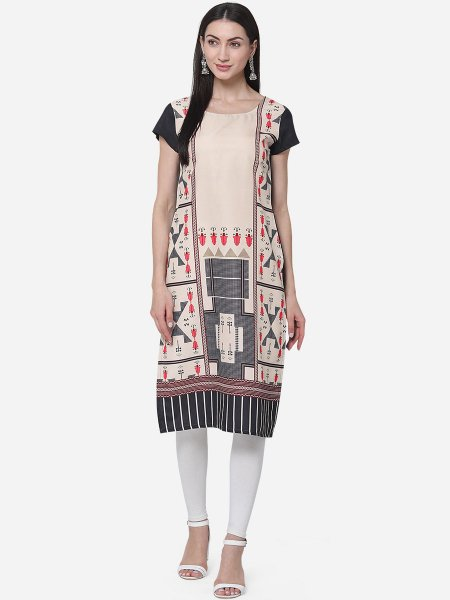 Cream Yellow and Black Crepe Printed Casual Kurti