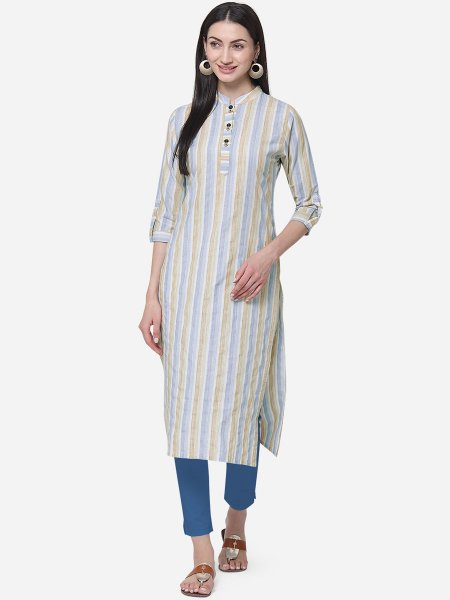 Cream Yellow and Sky Blue Cotton Printed Casual Kurti