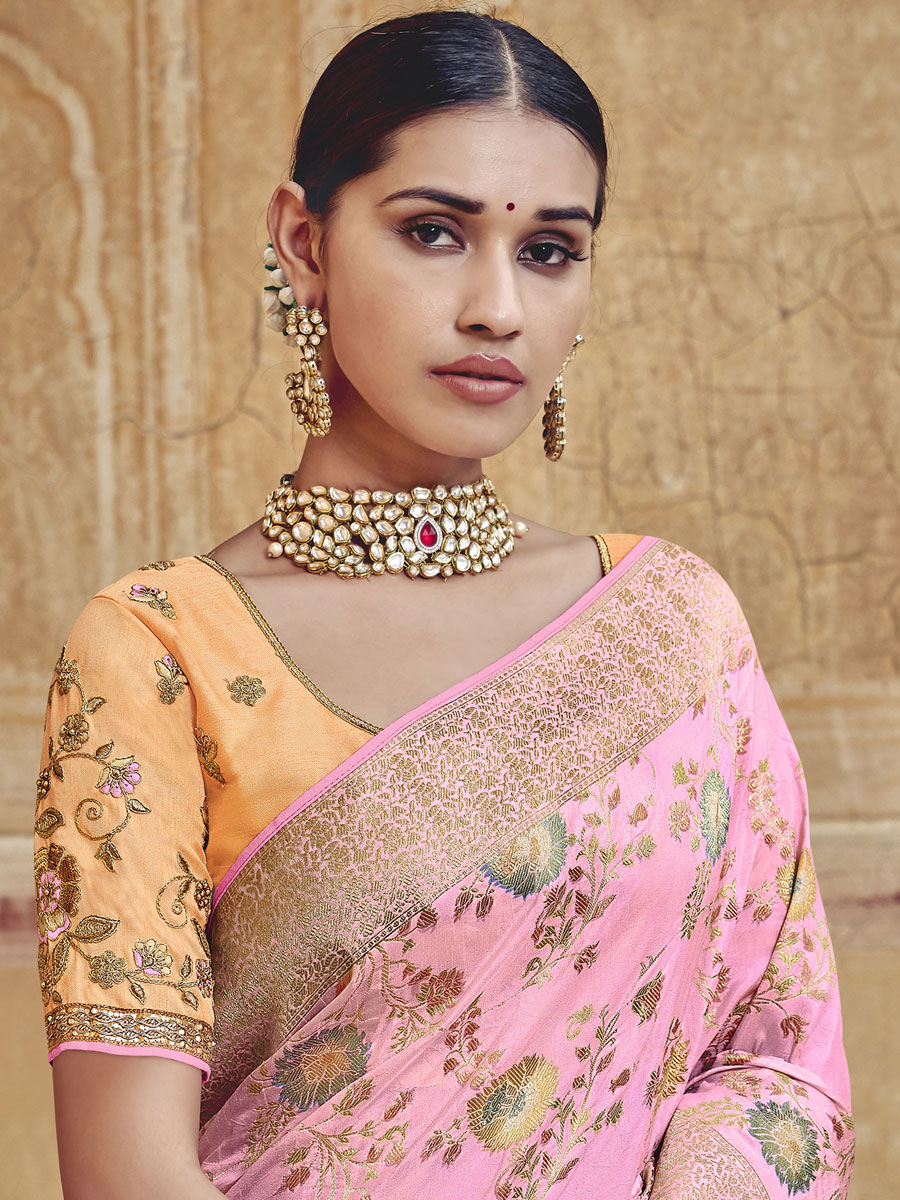 Lavender Pink Silk Embroidered Festival Saree