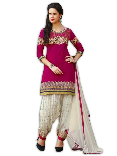 Magenta Pink Satin Cotton Embroidered Party Patiala Pant Kameez