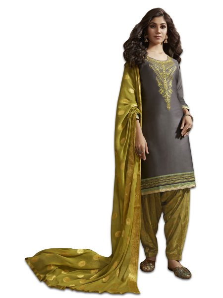 Gray Satin Cotton Embroidered Party Patiala Pant Kameez